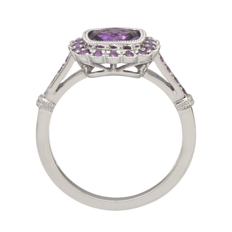Stanton Color White Gold Amethyst Halo Ring