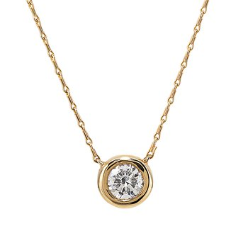 Yellow Gold Bezel Set Diamond Solitaire Necklace