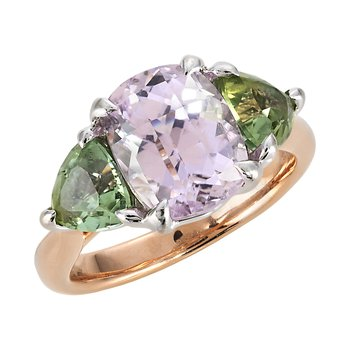 Rose and White Gold Kunzite and Mint Tourmaline Ring