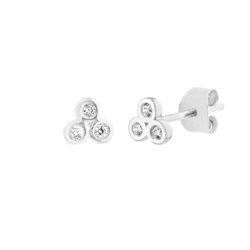 Devon Fashion White Gold Diamond Trinity Stud Earrings