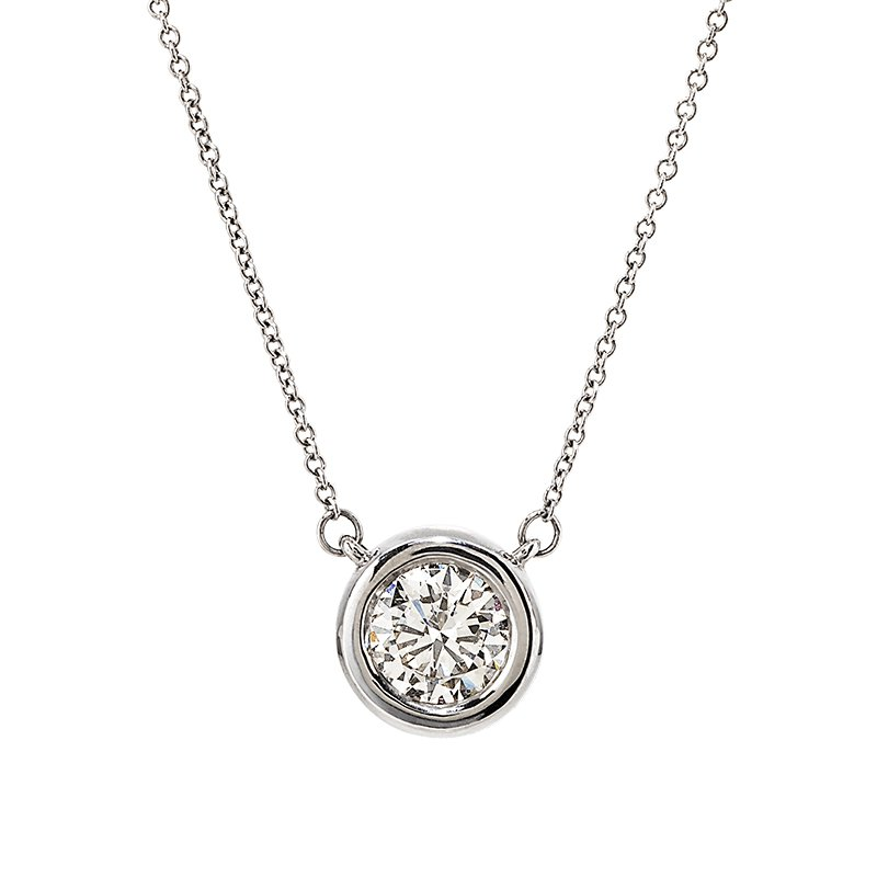 Devon Fashion White Gold Bezel Set Diamond Solitaire Necklace