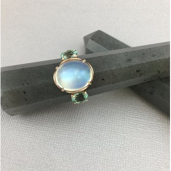 Rose Gold Moonstone and Lagoon Tourmaline Ring