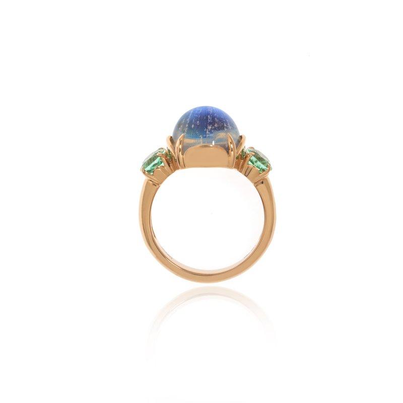 Devon Original Rose Gold Moonstone and Lagoon Tourmaline Ring