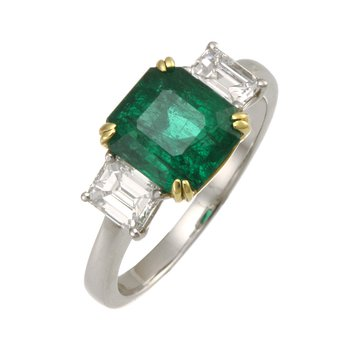 Platinum and Yellow Gold Emerald and Diamond Ring
