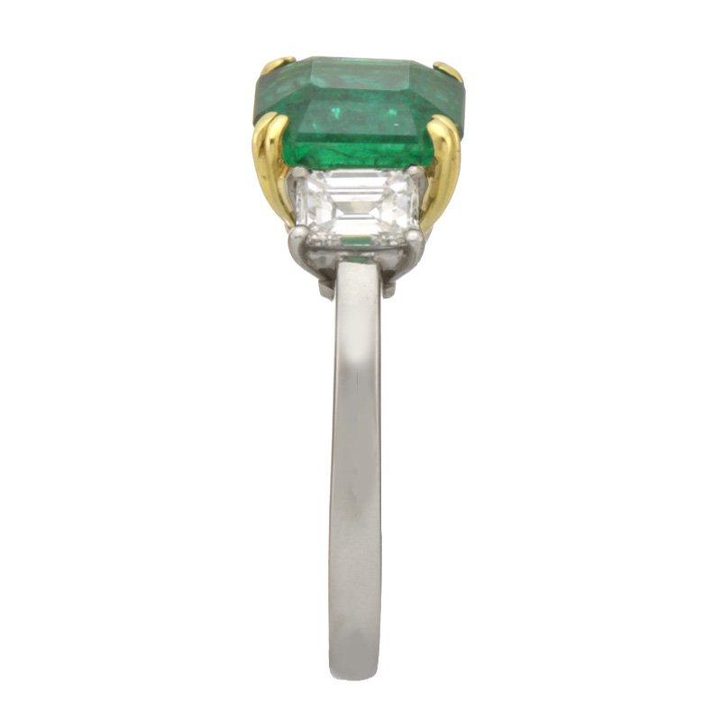 Devon Fashion Platinum and Yellow Gold Emerald and Diamond Ring