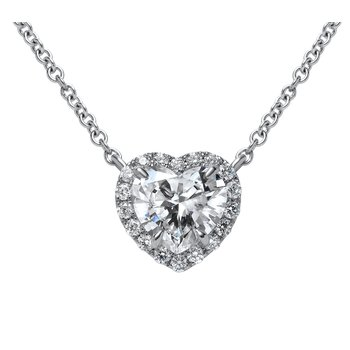 White Gold Heart Shape Diamond Necklace