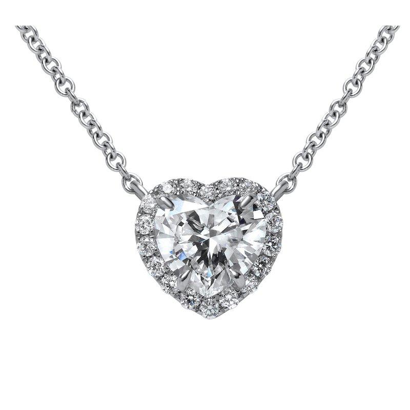 Superior Diamond Cutters White Gold Heart Shape Diamond Necklace