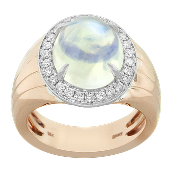 Two Tone Moonstone and Diamond Ring