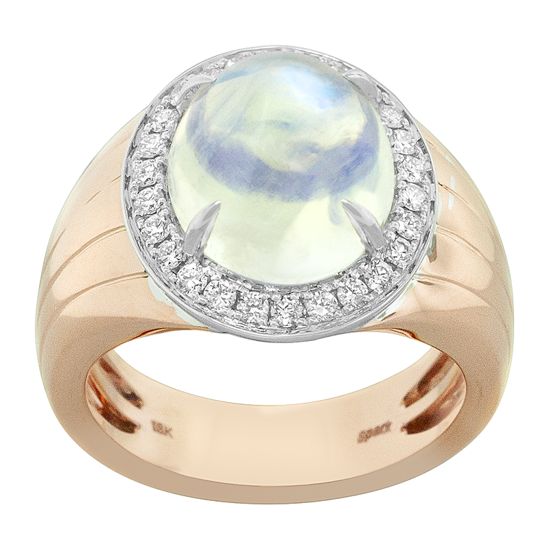 Spark Creations Two Tone Moonstone and Diamond Ring