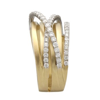 Two Tone Multi-Row Diamond Band