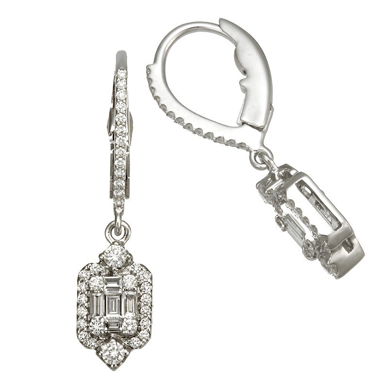 Devon Fashion White Gold Diamond Drop Earrings