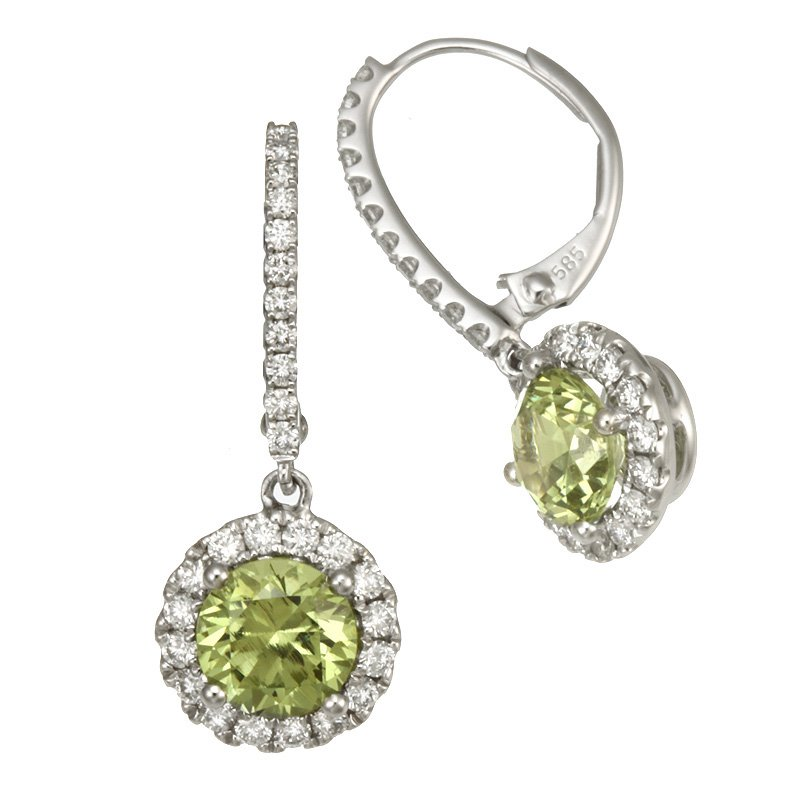 Devon Original White Gold Grossular Andradite Dangle Earrings with Diamonds