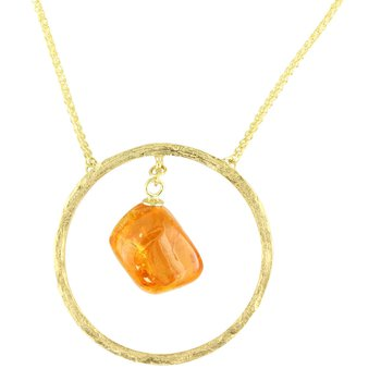 Sharing The Rough Yellow Gold Mandarin Garnet Circle Necklace