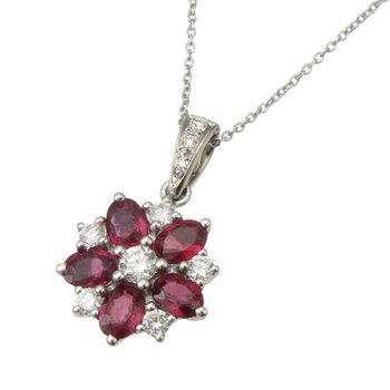 White Gold Ruby and Diamond Pendant