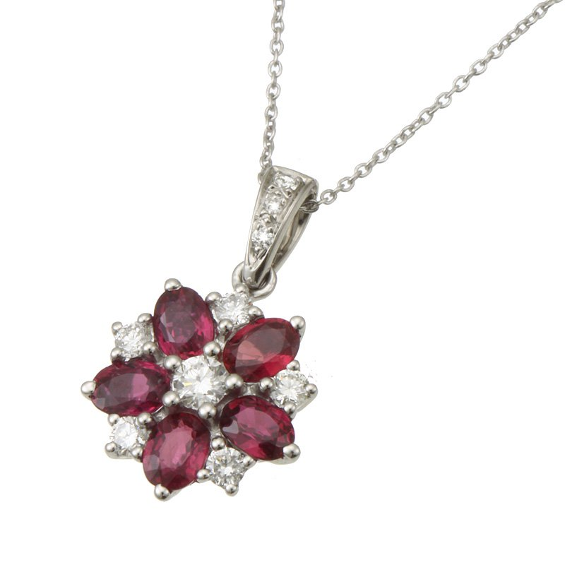 Devon Fashion White Gold Ruby and Diamond Pendant