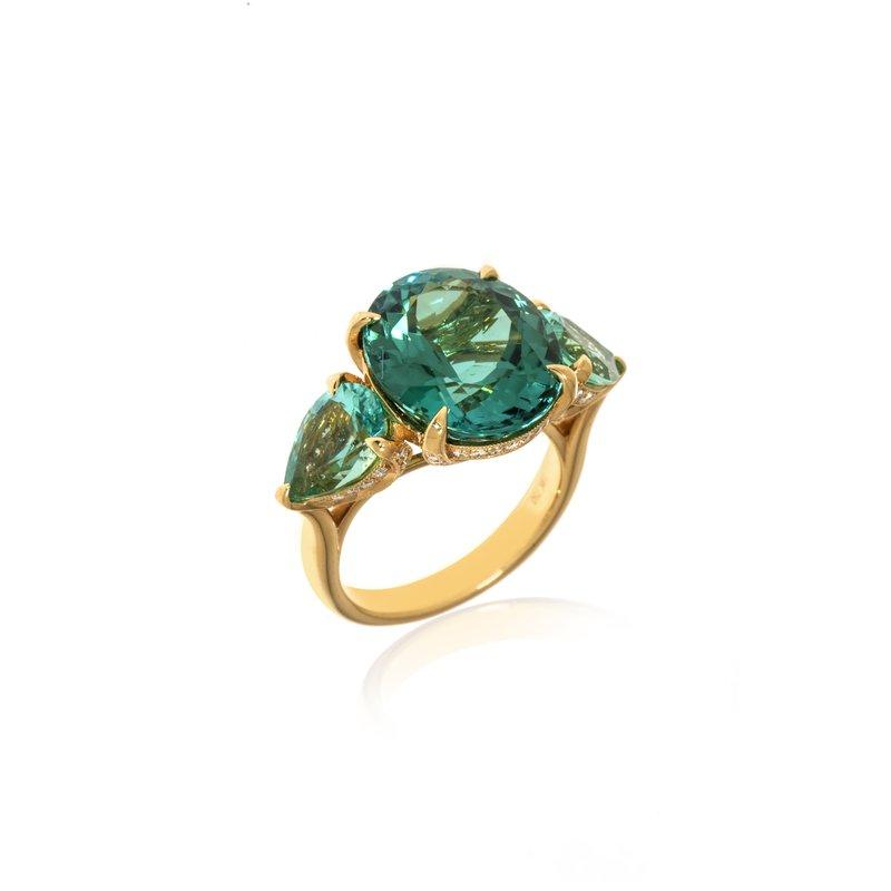 Devon Original Yellow Gold Blue and Blue-Green Tourmaline Ring