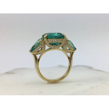 Yellow Gold Blue and Blue-Green Tourmaline Ring