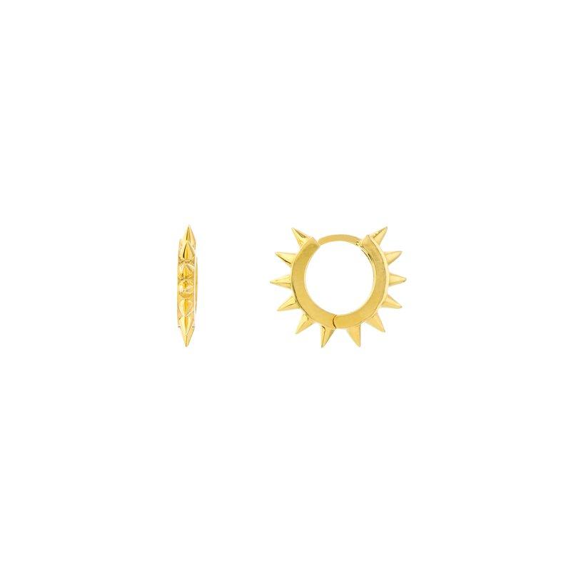 Devon Fashion Yellow Gold Tiny Spike Hoop Earrings