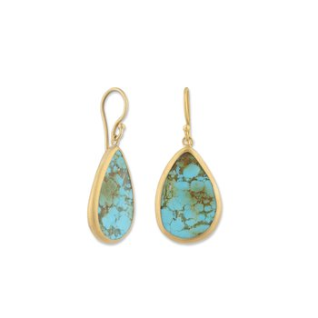 24K Gold Kingman Turquoise Earrings