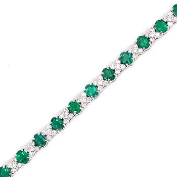 White Gold Emerald and Diamond Bracelet