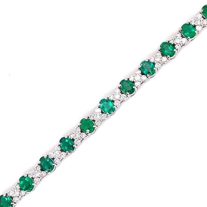 Samuel Sylvio Designs White Gold Emerald and Diamond Bracelet