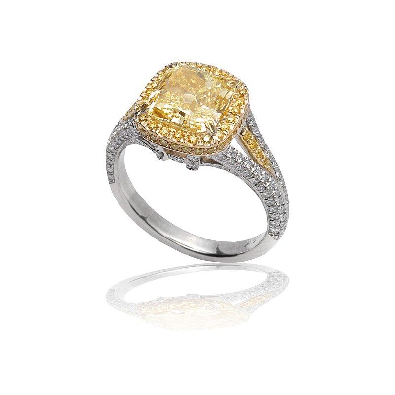 Superior Diamond Cutters Two Tone Fancy Yellow Diamond Ring
