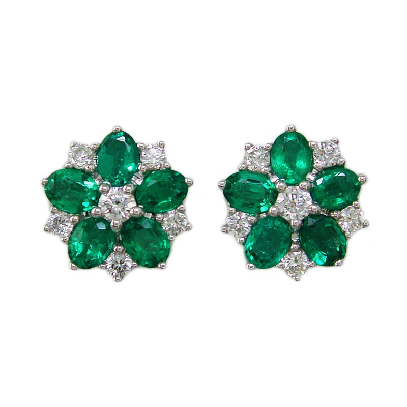 Samuel Sylvio Designs White Gold Emerald and Diamond Flower Earrings