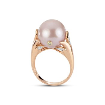 Rose Gold Natural Pink Freshwater Pearl Ring