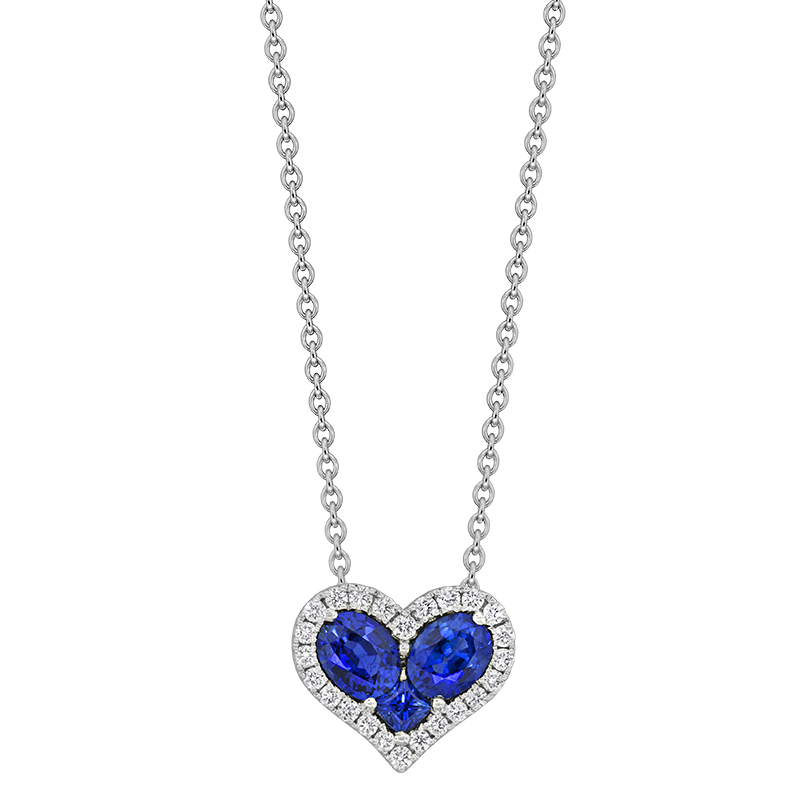 Spark Creations White Gold Blue Sapphire and Diamond Pendant