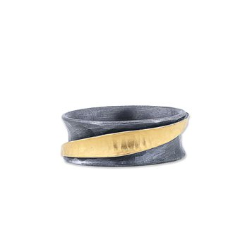 "24K Fusion Gold & Oxidized Silver ""Inversion"" Ring"