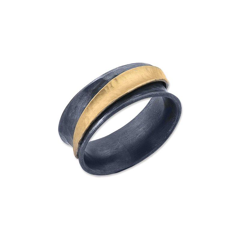 "Lika Behar Collection 24K Fusion Gold & Oxidized Silver ""Inversion"" Ring"