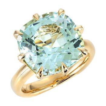 Yellow Gold Seafoam Blue Tourmaline Ring with Diamonds