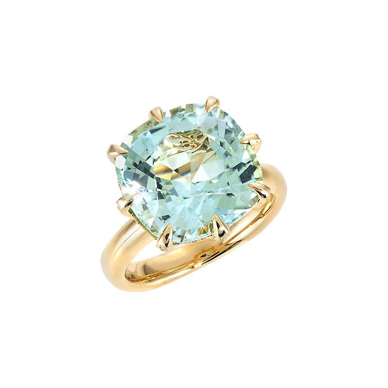 Devon Original Yellow Gold Seafoam Blue Tourmaline Ring with Diamonds
