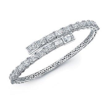 White Gold Emerald Cut Spiral Bracelet