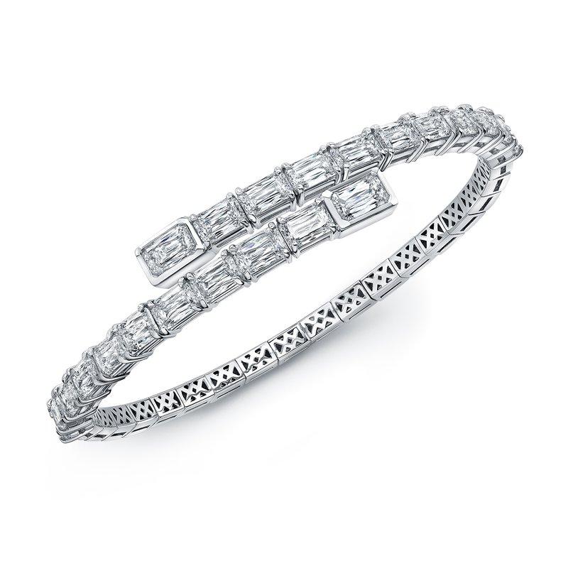 Norman Silverman White Gold Emerald Cut Spiral Bracelet