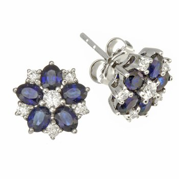 White Gold Blue Sapphire and Diamond Flower Earrings