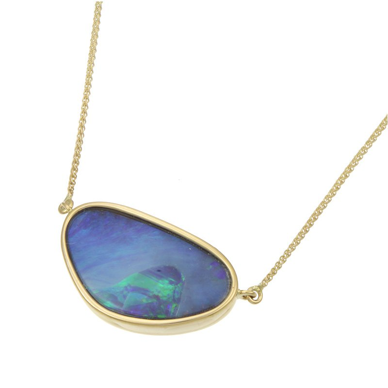 Parle Yellow Gold Boulder Opal Necklace