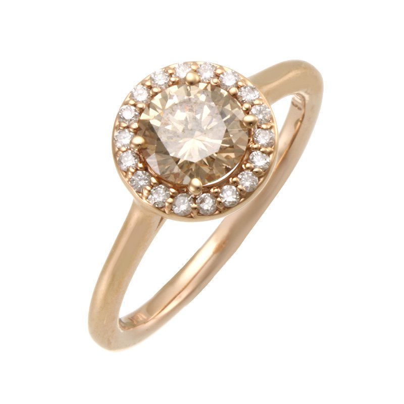 Devon Fashion Rose Gold Champagne Diamond Halo Ring