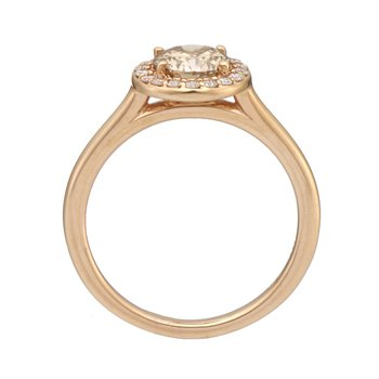 Rose Gold Champagne Diamond Halo Ring