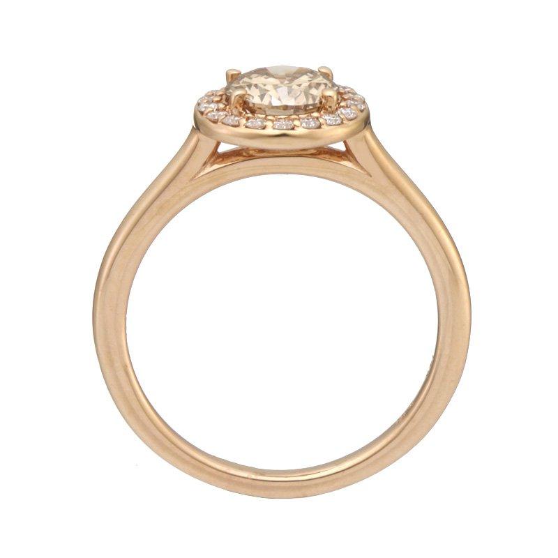 Devon Fashion Rose Gold Champagne Diamond Halo Ring