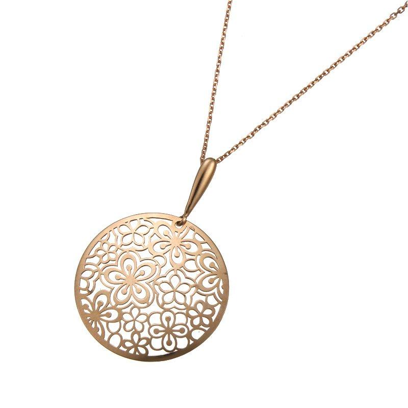 Devon Fashion Rose Gold Open Floral Design Pendant