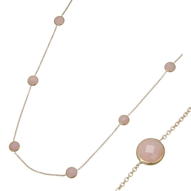 Devon Fashion Yellow Gold Pink Opal Necklace