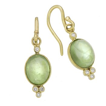 Yellow Gold Peridot and Diamond Drop Earrings