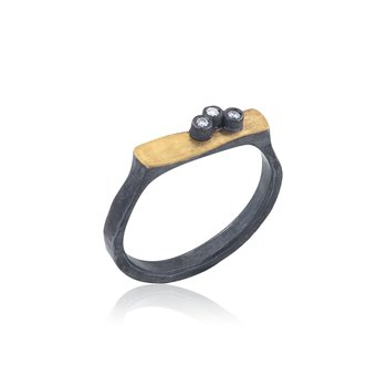 24K Fusion Gold & Oxidized Silver Ring with Diamonds