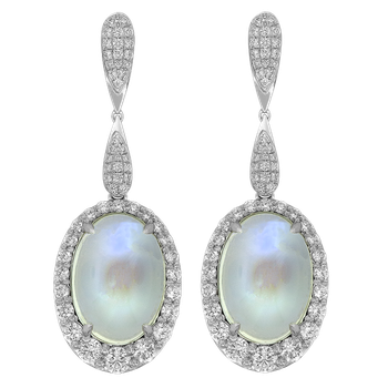 White Gold Moonstone and Diamond Earrings