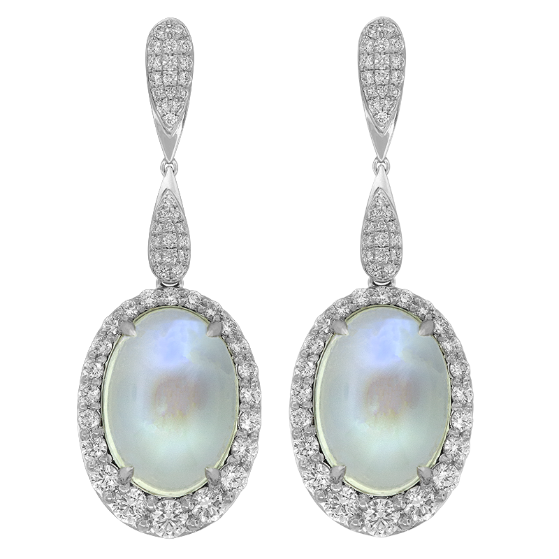 Spark Creations White Gold Moonstone and Diamond Earrings