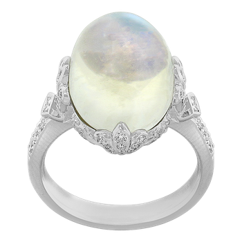 White Gold Moonstone and Diamond Ring