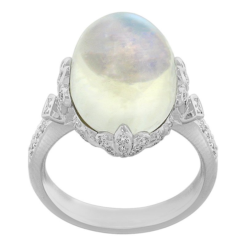Spark Creations White Gold Moonstone and Diamond Ring