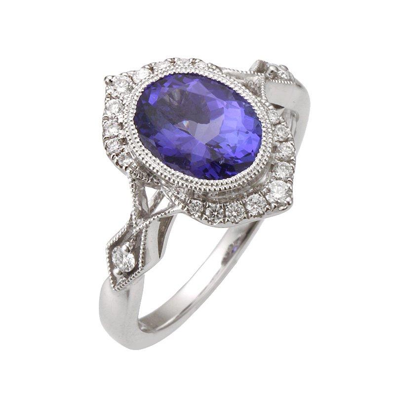 Stanton Color White Gold Tanzanite and Diamond Ring