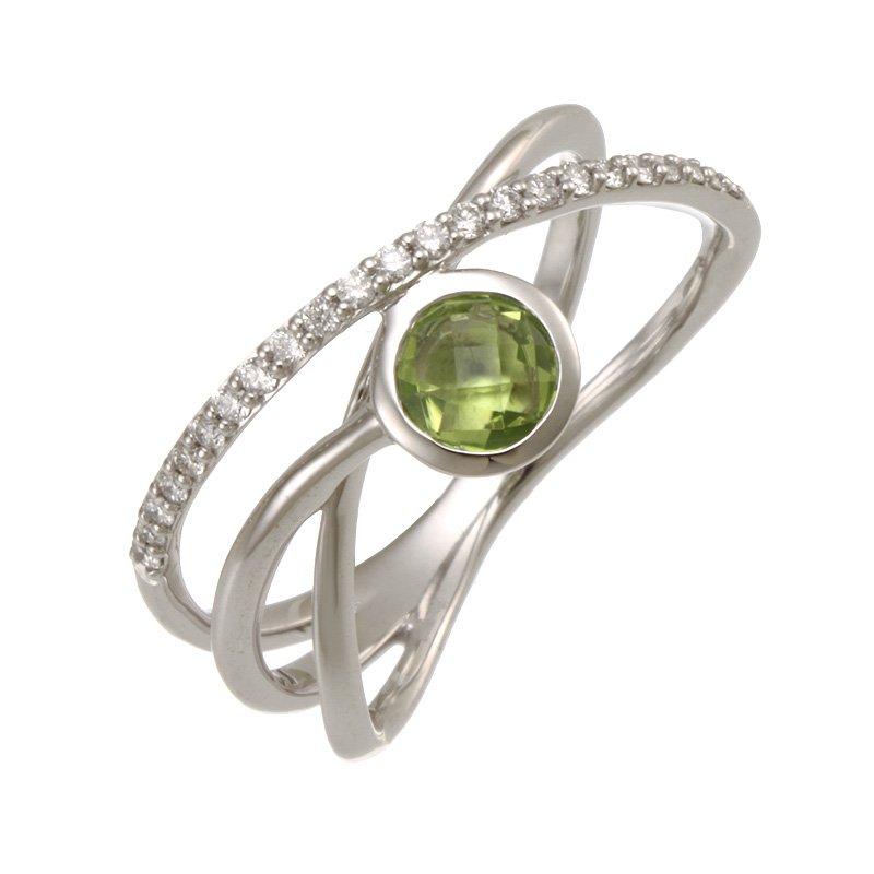 Devon Fashion White Gold Peridot and Diamond Criss Cross Ring